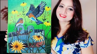 Learn How to Paint Acrylic Bird Painting on Canvas Tutorials For Beginners