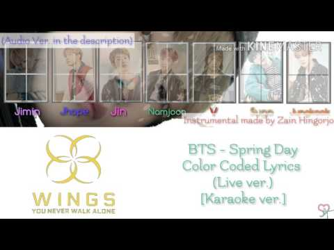 BTS (방탄소년단) - Spring day [Live-Karaoke ver.] Color Coded Lyrics [Instrumental/Kpop]