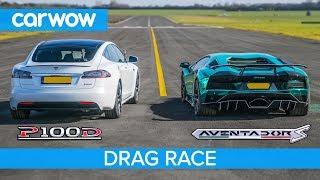 Lamborghini Aventador S v Tesla Model S P100D - DRAG RACE, ROLLING RACE & BRAKE TEST