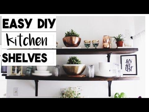 DIY OPEN KITCHEN SHELF HACK | SUPER EASY WOOD SHELF DIY