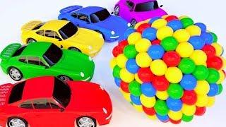 Apprendre les couleurs Avec des balles de véhicules de rue Voitures de sport Cartoon Pour les enfant