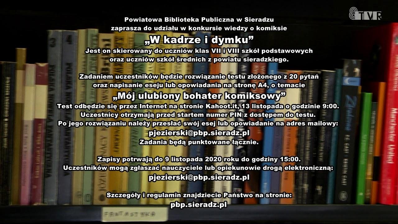 """Konkurs wiedzy o komiksie """"W kadrze i dymku"""" – ogłoszenie PBP w Sieradzu"""