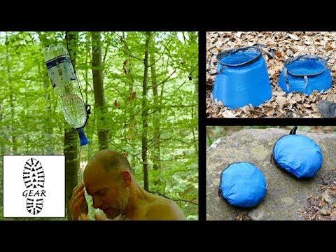 Flaschendusche + faltbare Wasserbehälter von Lifeventure