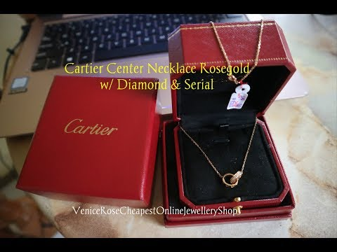 💎CARTIER Center Necklace Rosegold with DIAMOND & Serial💎