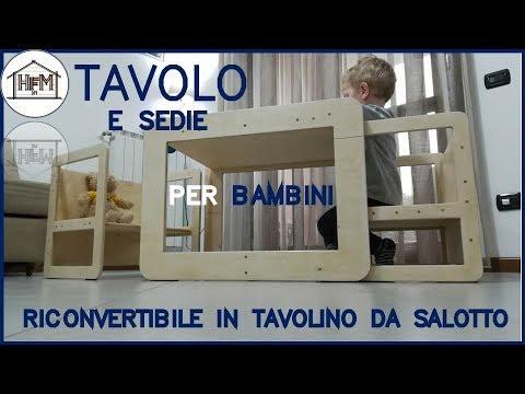 Tavolo e sedie per bambini in stile Montessori