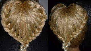 """Плетение кос.Плетение волос.""""Сердце"""" Красивая причёска на средние/длинные волосы"""