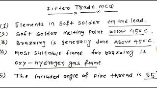 Fitter trade top mcq