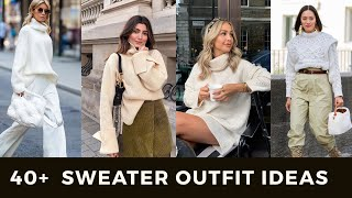 40+ SWEATER OUTFIT IDEAS/ Inspo  | TRENDY SWEATER CARDIGANS   WORK OUTFITS 2020 LOOKBOOK