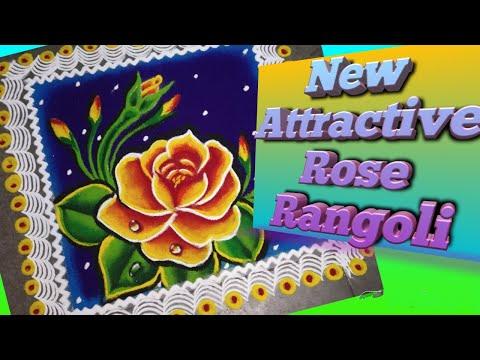 beautiful rose rangoli design by jyoti