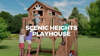 Scenic Heights Wooden Playhouse For Kids In Parasol Outdoor Furniture Showroom