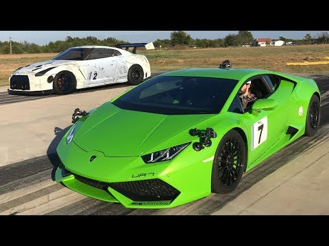 2500hp GTR Takes on 2500hp UGR Lambo - EPIC BATTLE!