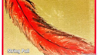(171) How to String Pull a Feather acrylic paint pouring