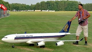 HUGE RC AIRLINER AIRBUS A-340 SCALE MODEL TURBINE JET FLIGHT DEMONSTRATION