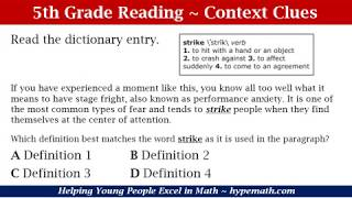 5th Grade Reading Comprehension (Context Clues)