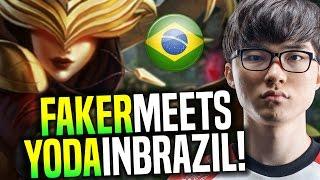 FAKER Meets YODA in Brazil! - SKT T1 Faker Playing Syndra vs Yoda Katarina in BR! | SKT T1 Replays
