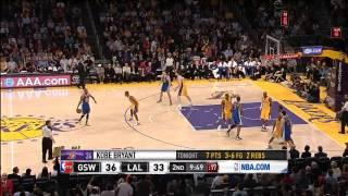 Jarrett Jack crosses MWP, Kobe crosses Klay Thompson (2012.04.02)