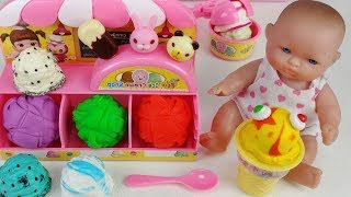 Play Doh And Baby Doll Ice Cream Shop Toys Pororo Play   토이몽