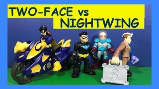Imaginext Nightwing Fights Two Face Robbery w/ Mr Freeze & Batgirl Cycle (Stop Motion Toys)