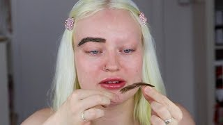 trying out eyebrow wigs on my non-existent eyebrows
