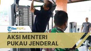 Aksi Menteri Pratikno Pull Up di Fitnes Mabes TNI AD Pukau Jenderal Andika, Sehat di Usia 60 Tahun