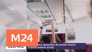 Пассжирка самолета сушила нижнее белье во время полета - Москва 24