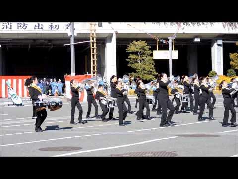 小机小学校のマーチングバンドの演奏・平成27年1月10日