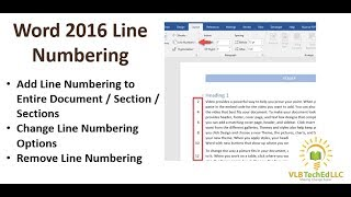 Word 2016 Line Numbering Feature