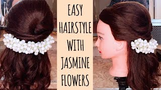 Half Up Half Down Hairstyle With Jasmine Flowers/Gajra For Tamil Hindu Weddings   Thuri Makeup
