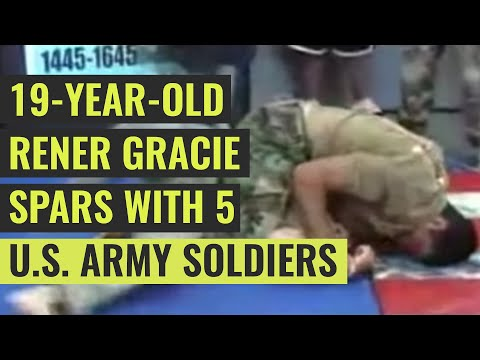 At a book signing, Rener Gracie was challenged by five US Army soldiers in the audience, to a Jiu-Jitsu sparring match. This is the video, along with his narration. He was 19.