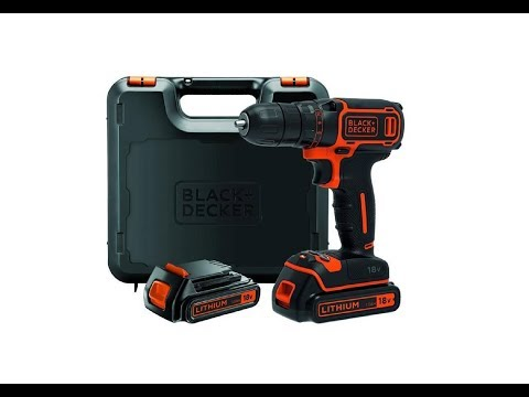 BLACK+DECKER 18 V Lithium-Ion Drill Driver with Kit Box and 2 Batteries - UNBOXING
