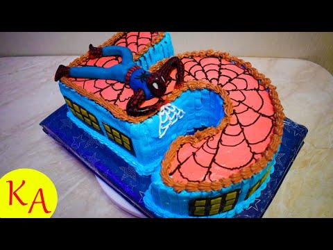 Мастер-класс торта на 5 лет с человеком-пауком