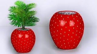 Strawberry Flower Vase // Easy Making Flower Pot // ফুলদানী তৈরি দেখুন