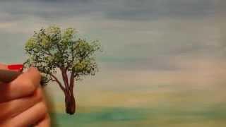 Как нарисовать дерево гуашью поэтапно урок - Видео онлайн