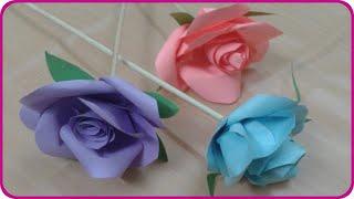 طريقة سهلة لصنع وردة بالورق - عمل وردة من الورق - اشغال يدوية