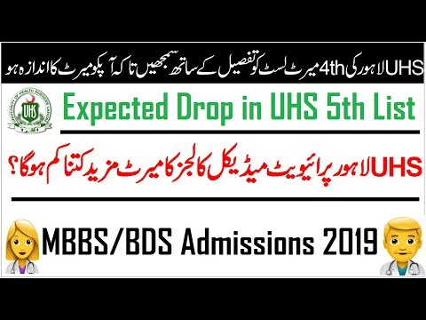 Merit List of Under Developed Districts of Punjab (UHS Lahore) MBBS
