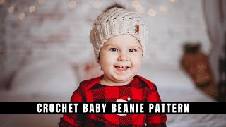 Baby Crochet Beanie 0-3 Months- Free Pattern