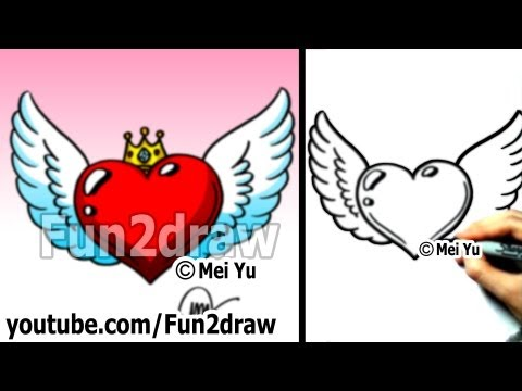 Fun2draw heart with wings fun2draw stars by the funny for Fun and easy pictures to draw