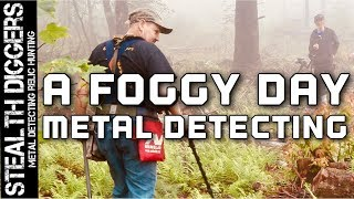 A foggy day metal detecting in NH cellar holes #252 the NEL Tornado coil on Garrett ATGOLD detector