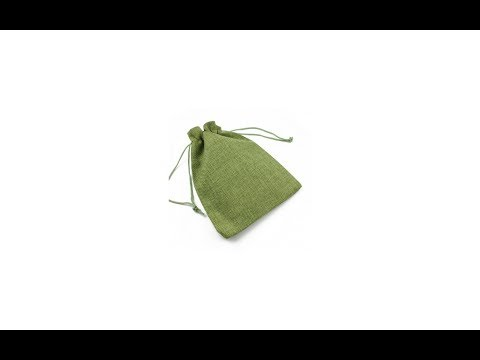 Saculet textil pentru cadouri cu snur, verde, 12.5 x 18 cm