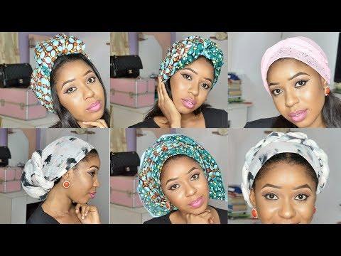 6 Quick & Easy Head wrap Tutorials / Turban Tutorial  Styles. Head Scarf / Ankara Gele tutorial