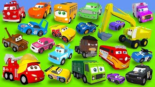Stories with Fire Truck, Excavator, Train, Police Cars, Garbage Truck, Tractor Construction Vehicles