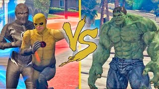 Flash Reverso e ZooM Vs Hulk. (GTA V PC MODS)