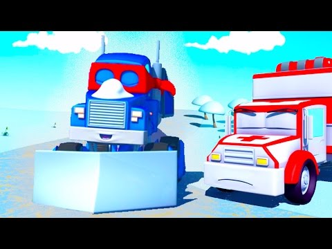 Bilpatrullens brandbil och polisbil - Vad är det i Bens fält? - Bilköping   Tecknade serier