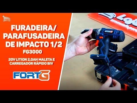 Parafusadeira /Furadeira de Impacto a Bateria 20V Lítio 1/2 Pol. com Maleta e Carregador Rápido - Video