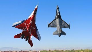FANTASTIC Russian Mikoyan MiG-29 and F-16 FORMATION PAIR/DUO with OVT VECTORED THRUST Demo