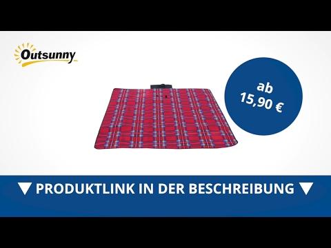 Outsunny Picknickdecke Campingdecke 170x135cm Rot - direkt kaufen!