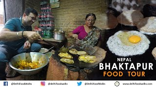 NEPAL BHAKTAPUR Food Tour- NEWARI Breakfast + Taas + Bara Wo + JuJu Dhau + Choila + Tho Local Beer