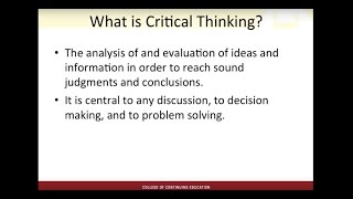Webinar: Critical Thinking and Problem Solving