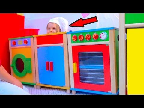 DIY Детский ДоМик РЕСТОРАН с игровой кухней или Pretend Play in DIY Playhouse for children (видео)