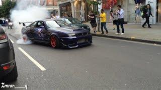 Nissan Skyline R33 GTR X2 Shooting Flames and MASSIVE BURNOUT GUMBALL 300 LONDON